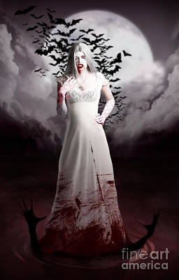 Digital Art - Female Vampire During Twilight Full Moon Horror by Jorgo Photography - Wall Art Gallery