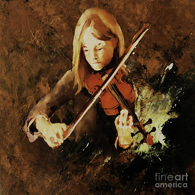 Abstract Drum Painting - Female Violin Player 0054 by Gull G