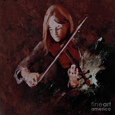 Abstract Drum Painting - Female Violinist 0043 by Gull G