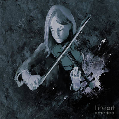Abstract Drum Painting - Female Violinist 59j by Gull G