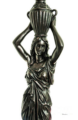 Photograph - Female Water Goddess Bronze Statue 3288r by Ricardos Creations