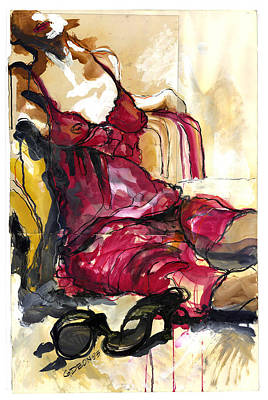Colorful Abstract Drawing - Female With Red Nightgown And Shoes by Gideon Cohn