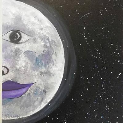 Acrylic Painting - Feminine Moon by Artist Jamari