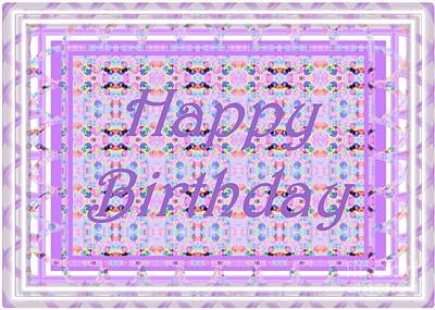 Digital Art - Feminine Lavender Birthday Card by Barbie Corbett-Newmin