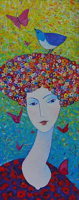Painting - Femininity Spring Portrait Contemporary Abstract Impressionism Knife Oil Painting Ana Maria Edulescu by Ana Maria Edulescu