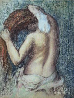Bathroom Pastel - Femme A Sa Toilette by Edgar Degas