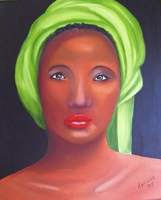 Ethiopian Woman Painting - Femme Au Turban Vert by Arthur Antille