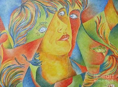 Painting - Femme Aux Trois Visages by Claire Gagnon