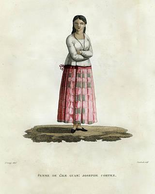 Drawing - Femme De L Ile Guam Josephe Cortez by Jacques Arago