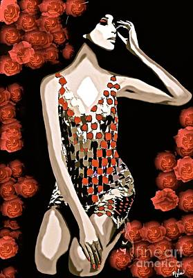 Painting - Femme Fatale C 1966 Luna The Rose by Saundra Myles
