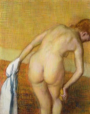 Scrubbing Painting - Femme Prennant Au Bain by Edgar Degas