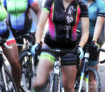 Bike Riding Digital Art - Femmes On Bikes  by Steven Digman