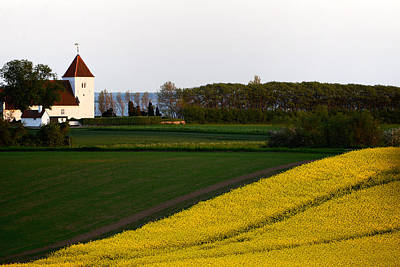 Photograph - Femoe Fields And Church by Eric Nielsen