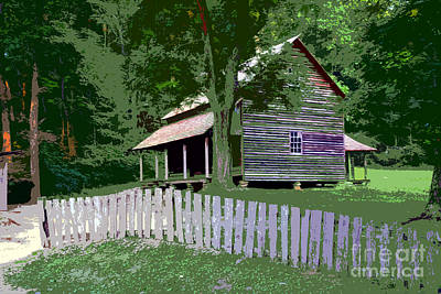 Fence And Cabin Art Print