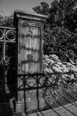 Fence And Flowers At Msu Black And White  Art Print by John McGraw