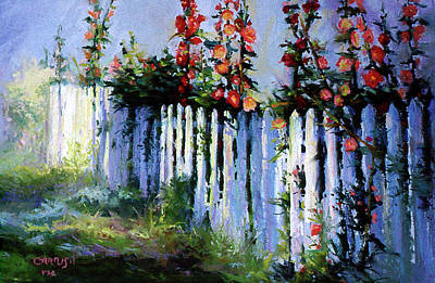 Painting - Fence And Flowers by David Garrison