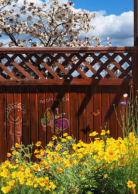 Butterfly Koi Photograph - Cityscape - Fence, Flowers, And Monarch Butterflies - Triptych, Part 1 by Arthur Babiarz