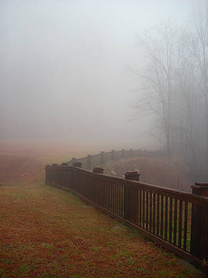 Fence And Fog Art Print by Beebe  Barksdale-Bruner