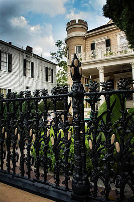 Fence At Cornstalk Hotel Print by Chrystal Mimbs