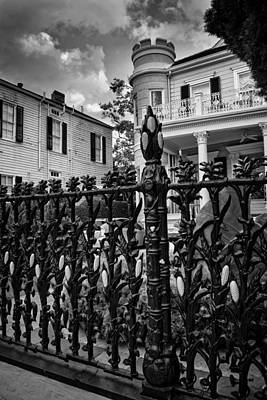 Fence At Cornstalk Hotel In Black And White Print by Chrystal Mimbs