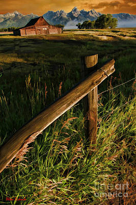 Photograph - Fence At Thomas Alma And Lucille Moulton Homestead Tetons by Blake Richards