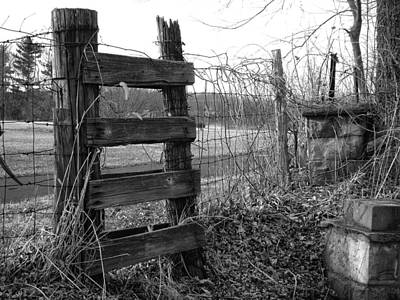 Photograph - Fence Bw by Monica Whaley