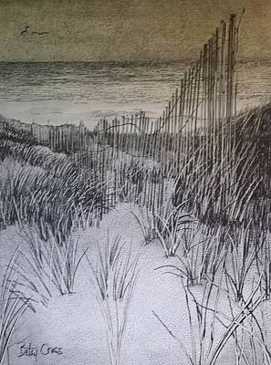 Drawing - Fence In The Dunes by Betsy Carlson Cross