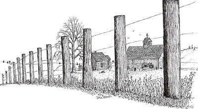 Art Print featuring the drawing Fence Line 1 by Jack G  Brauer