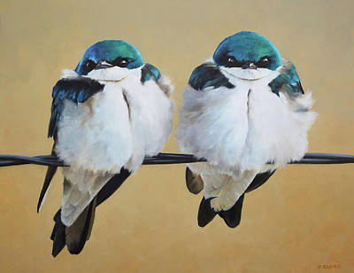 Painting - Fence Line Swallows by Peter Eades