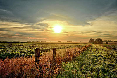 Photograph - Fence Line Sunrise by Bonfire Photography