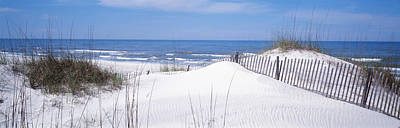 Fence On The Beach, Gulf Of Mexico, St Art Print by Panoramic Images
