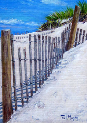 Cape Cod Painting - Fence Shadows by Tish Murphy