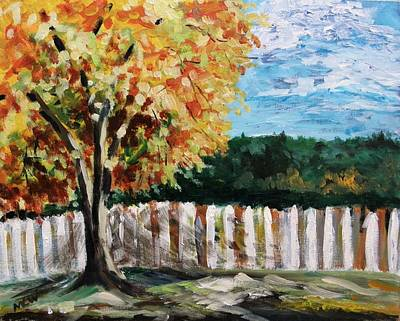 Art Print featuring the painting Fence Under The Maple by Mary Carol Williams