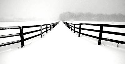 Fenced White Out Art Print by Russell Styles