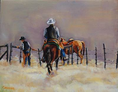 Painting - Fenceline by Jean Cormier