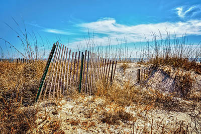 Driftwood Beach Fog Wall Art - Photograph - Fences In The Dunes by Debra and Dave Vanderlaan