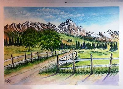 Painting - Fences Mountains Trees Sold by Richard Benson