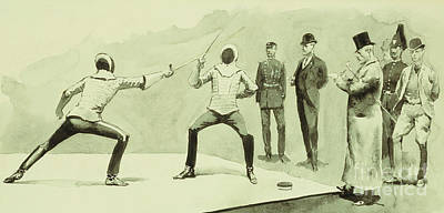Action Drawing - Fencing At Dickel's Academy by Frederic Remington