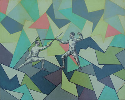 Fencing Painting - Fencing Fellows by Ramey Guerra