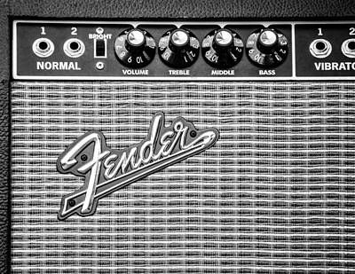 Photograph - Fender Amplifier Monochrome by Andrea Mazzocchetti