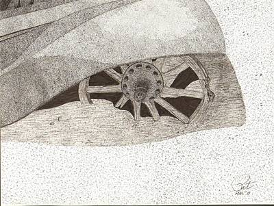Spokes Drawing - Fender And Spokes by Pat Price