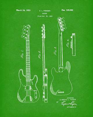 Drawing - Fender Bass Guitar 1953 Patent Art Bright Green by Prior Art Design