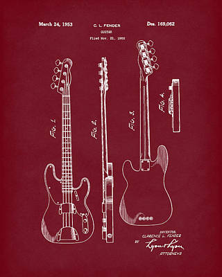 Drawing - Fender Bass Guitar 1953 Patent Art Red Dark by Prior Art Design