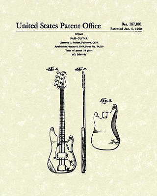 Smallmouth Bass Drawing - Fender Bass Guitar 1960 Patent Art by Prior Art Design
