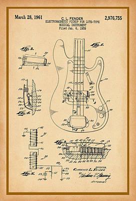 Photograph - Fender Bass Guitar Pickup Patent Drawing by Carlos Diaz