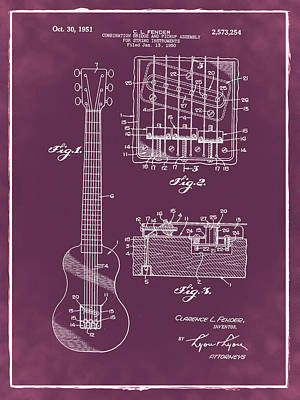 Mustang Photograph - Fender Bridge And Pickup Assembly Patent 1951 Red by Bill Cannon