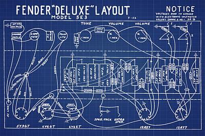 Fender Deluxe Layout Model 5e3 In Blue Print Art Print