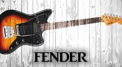Music Mixed Media - Fender Graphic Barn Door by Dan Sproul