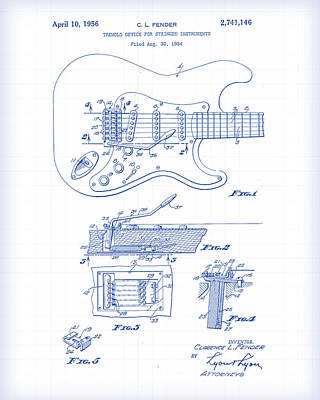 Painting - Fender Guitar Patent Drawing by Gary Grayson