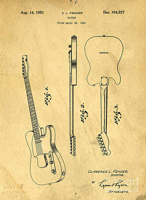 Axes Drawing - Fender Guitar Patent by Edward Fielding